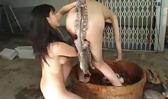 Man cock milked swallows cum